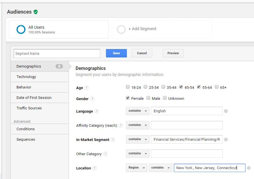 Google anl;analytics segment audiences