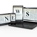Media. Text NEWS on screen of laptop, tablet, pv and phone. 3d